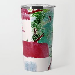 Village houses in the woods watercolor Travel Mug