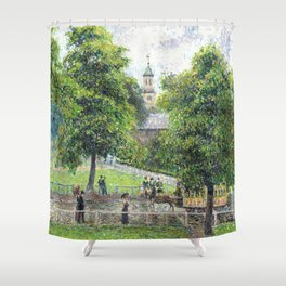 "Camille Pissarro ""Saint Anne's Church at Kew"" (1892) Shower Curtain"
