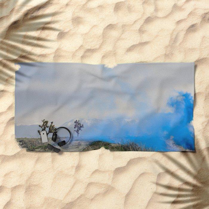 blue smoke Beach Towel