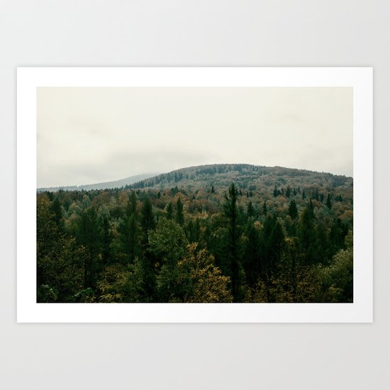 Early autumn, colorful forest and mountains Art Print