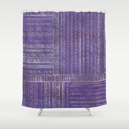 Tribal Ethnic pattern silver on  purple Shower Curtain