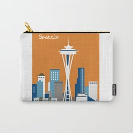 Seattle, Washington - Skyline Illustration by Loose Petals Carry-All Pouch