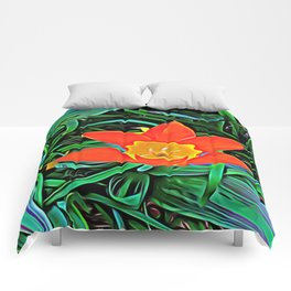 Flower of Enchanted Orange Flow Comforters