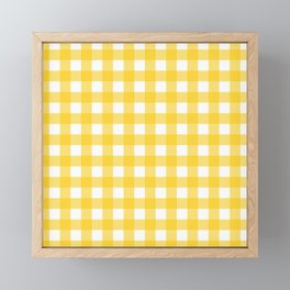 White & Yellow Gingham Pattern Framed Mini Art Print