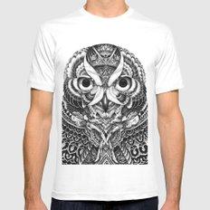 Owl portrait MEDIUM Mens Fitted Tee White