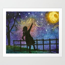 Watercolor Moon,Girl Painting,Watercolor Batik,Girl Art, Art Print