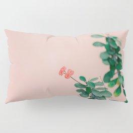 Floral photography print | Green on coral | Botanical photo art Pillow Sham