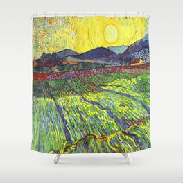 Van Gogh Enclosed Field with Rising Sun Shower Curtain