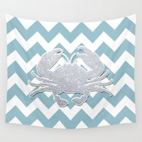 crab Wall Tapestries featuring Silver Crab by Pati Designs & Photography