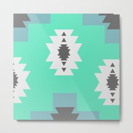 Minimal tribal decor in blue Metal Print