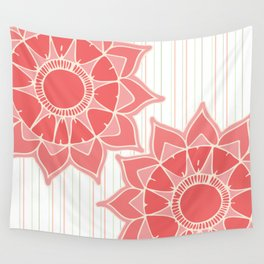 Pastel color coral pink floral mandala stripes Wall Tapestry