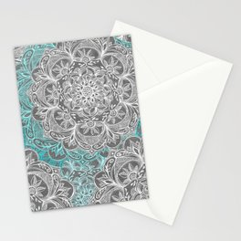 Turquoise & White Mandalas on Grey Stationery Cards