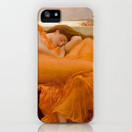 Flaming June Oil Painting by Frederic Lord Leighton iPhone Case