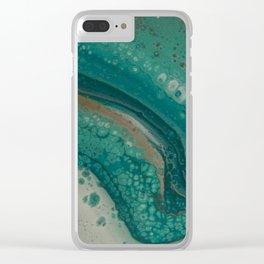 Sea Foam, Abstract Fluid Acrylic Paint Clear iPhone Case
