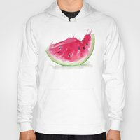 watermelon Hoodies featuring Watermelon by Bridget Davidson