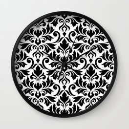 Flourish Damask Big Ptn Black on White Wall Clock