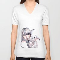cuddle V-neck T-shirts featuring Cuddle! by Koanne Ko