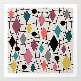 Colorful Mid Century Modern Geometric Abstract 122 Art Print