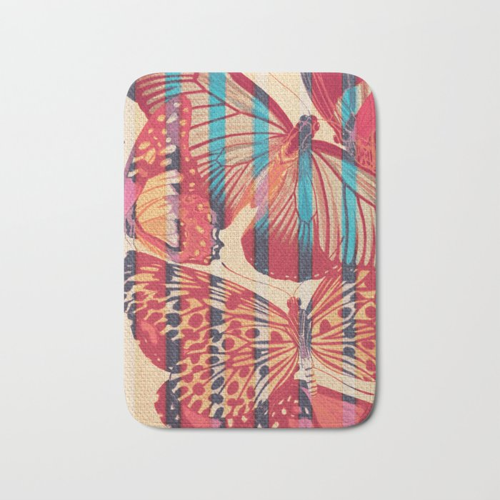 Butterflies in Strips Bath Mat