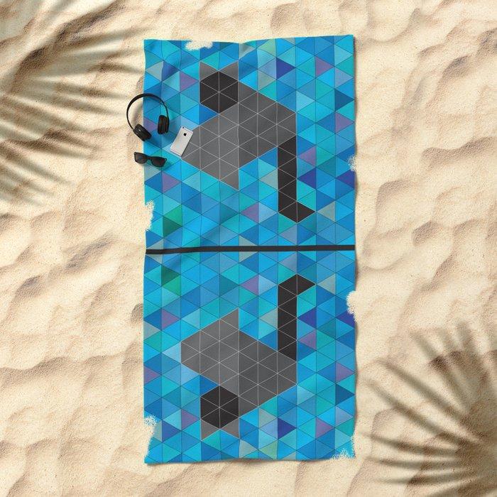 Black kitten in a sea of Triangles Beach Towel