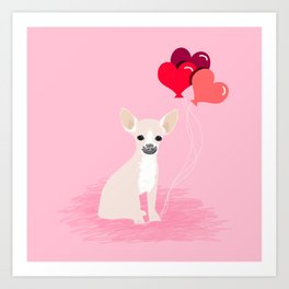 Chihuahua white love hearts valentines day cute gifts for chiwawa lovers pet must haves Art Print