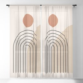 Abstraction_NEW_SUN_DAWN_MOUNTAINS_LINE_POP_ART_008B Sheer Curtain