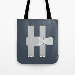 Letter H // Animal Alphabet // Hippo Monogram Tote Bag