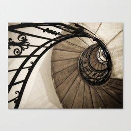 upwards - elegant old spiral staircase Canvas Print