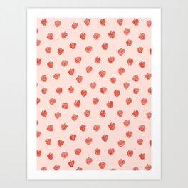 Strawberries on Pink Art Print