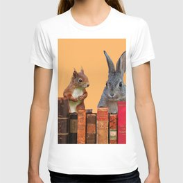 Rabbit with squirrel behind old Books #society6 T-shirt