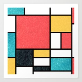 Clean Mondrian (Sponge) Art Print