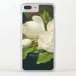 Martin Johnson Heade - Giant Magnolias On A Blue Velvet Cloth Clear iPhone Case