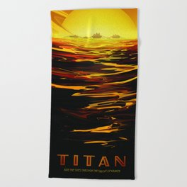 Titan NASA Space Travel Poster Futuristic Adventure Beach Towel