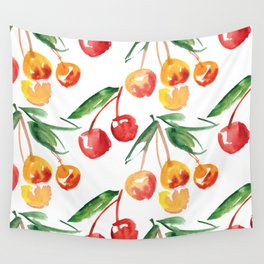 Watercolor Cherry Pattern Wall Tapestry