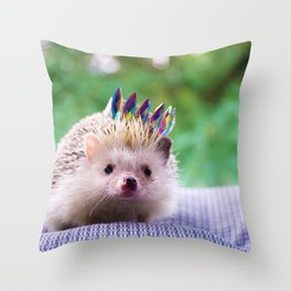 Hedgehog Wearing a Crown (Color) Throw Pillow