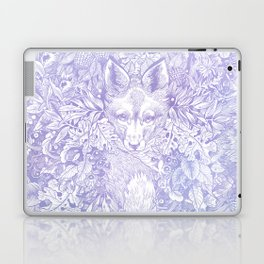 Pastel Purple Hiding Fox Drawing Laptop & iPad Skin