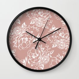 Dark Rose and White Floral Peony Bouquet  Wall Clock