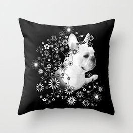 Flower Goddess Frenchie Throw Pillow