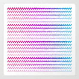 Rainbow Ombre Chevron Art Print