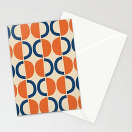 Mid Century Modern Half Circle Pattern 534 Beige Blue and Orange Stationery Cards