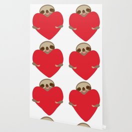 Valentines day card. Funny sloth with a red heart Wallpaper