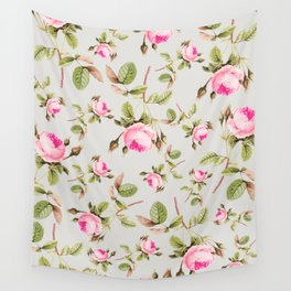 Flowers, Pink, Gray, Botanical, Vintage, Pattern, Modern art Wall Tapestry