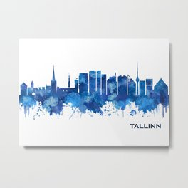 Tallinn Skyline Blue Metal Print