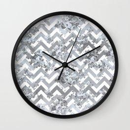 Vintage chic elegant blue gray white geometrical floral pattern Wall Clock