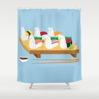alpaca Shower Curtains featuring Alpaca Sushi by Inappropriately Adorable