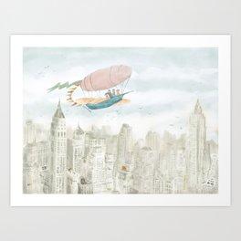 Dirigible over NY city Art Print