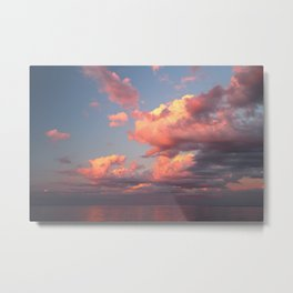 Pink Clouds over the Ocean Metal Print
