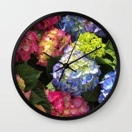 Colorful Hydrangea Flowers Wall Clock