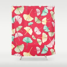 Gingko Leaves on Red Shower Curtain