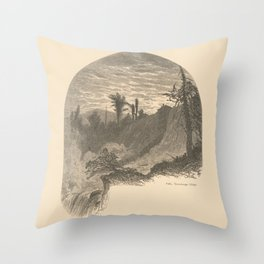 Vintage Adirondacks: Lower Falls, Ticonderoga Throw Pillow